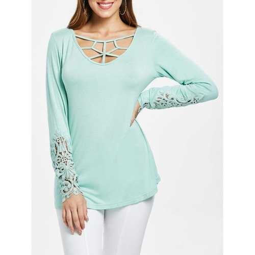 Strappy Cut Lace Cuffs Full Sleeve T-shirt - Light Cyan L