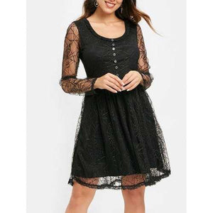 Full Sleeve Spider Web Lace Flare Dress - Black M - Winter Haven Co