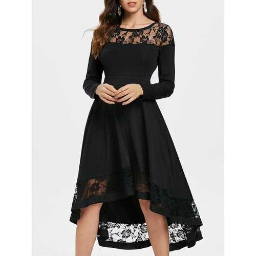 Rose Lace Insert Long Sleeve Dress - Black S