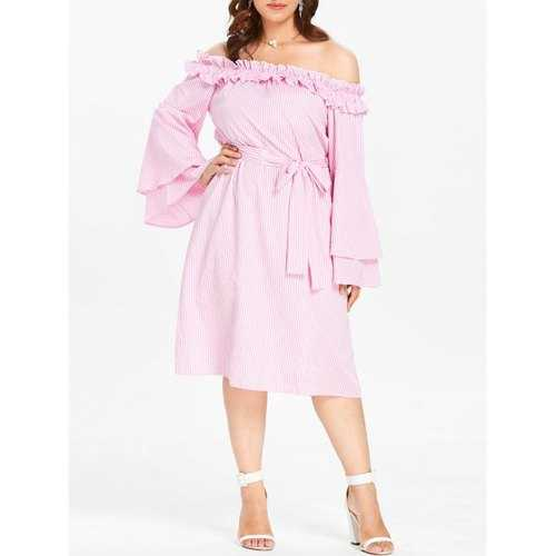 Plus Size Off The Shoulder Striped Dress - Light Pink 3x - Winter Haven Co