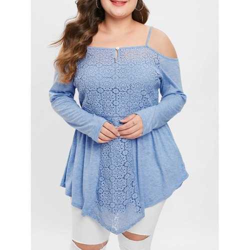 Plus Size Spliced Long Sleeves Cold Shoulder Cami Tee - Blue 4x