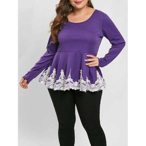 Plus Size Lace Panel Long Sleeve Top - Purple L