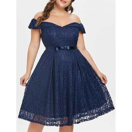Vintage Plus Size Lace A Line Dress - Deep Blue 5x