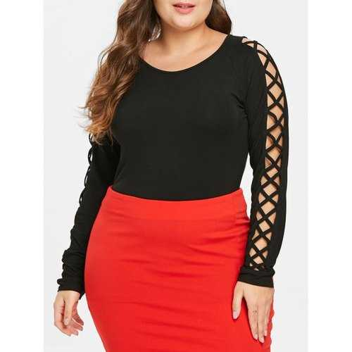 Plus Size Criss Cross Sleeve T-shirt - Black 4x - Winter Haven Co