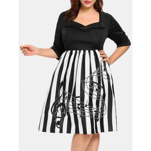 Plus Size Striped Sweetheart Neck Vintage Dress - Black 1x