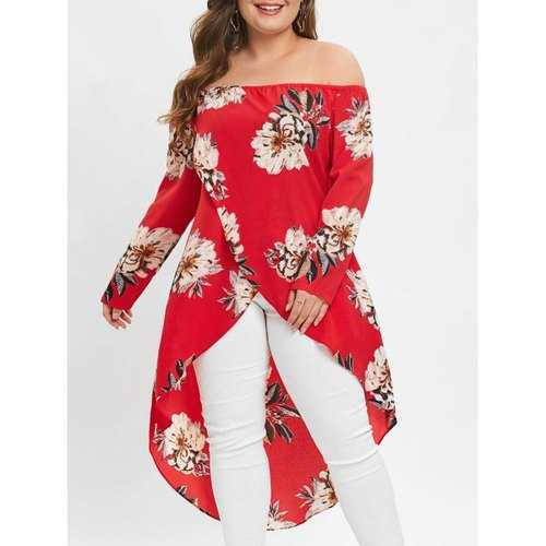 Plus Size Off The Shoulder High Low Long Blouse - Red L - Winter Haven Co