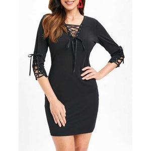 Tunic Lacing Fitted Dress - Black 2xl - Winter Haven Co