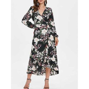 Floral Print Ruffled Trim Maxi Dress - Black M - Winter Haven Co