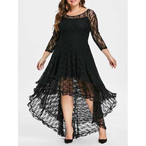Plus Size High Low Lace Dress with Cami Dress - Black 5x