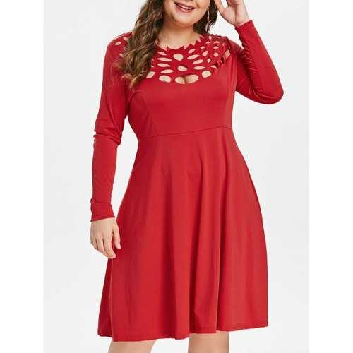 Plus Size Cut Out Flared Dress - Red L - Winter Haven Co