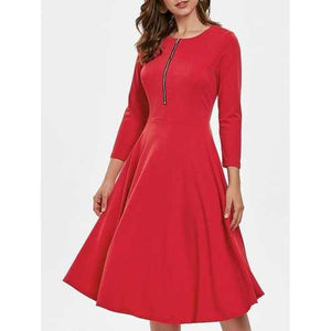 Three Quarter Sleeve Flowing Dress with Zipper - Red L