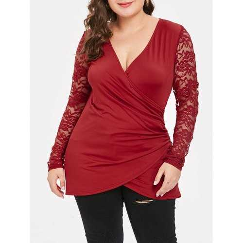 Plus Size Lace Spliced V Neck Wrap Tee - Red 2x