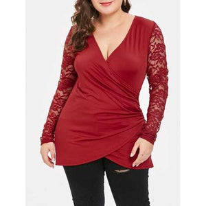 Plus Size Lace Spliced V Neck Wrap Tee - Red 2x - Winter Haven Co