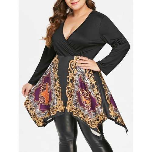 Plus Size Tribal Print Asymmetrical Surplice T-shirt - 2x - Winter Haven Co