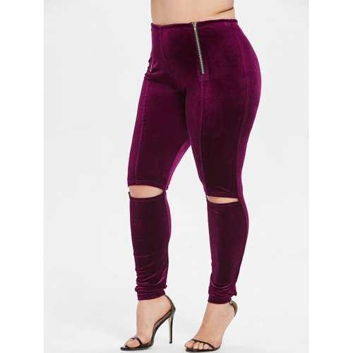 Plus Size Zip Hollow Out Velvet Leggings - Red Wine 4x