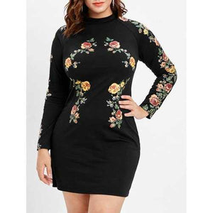 Plus Size Print Long Sleeve Tight Dress - Black 4x