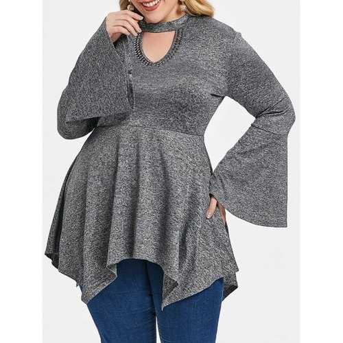 Plus Size Keyhole Bell Sleeve Handkerchief T-shirt - Gray 4x - Winter Haven Co