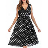 Polka Dot Button Slit A Line Dress - Black L