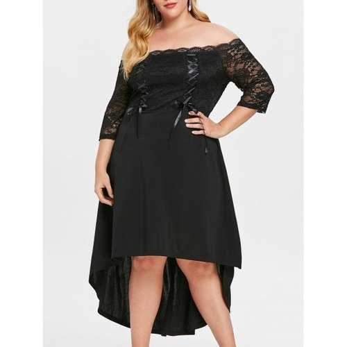 Plus Size Lace Up High Low Off Shoulder Dress - Black 4x