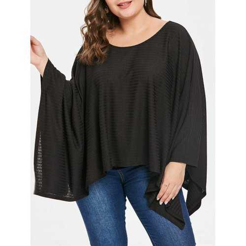 Plus Size Round Neck Asymmetrical Hem T-shirt - Black 2x