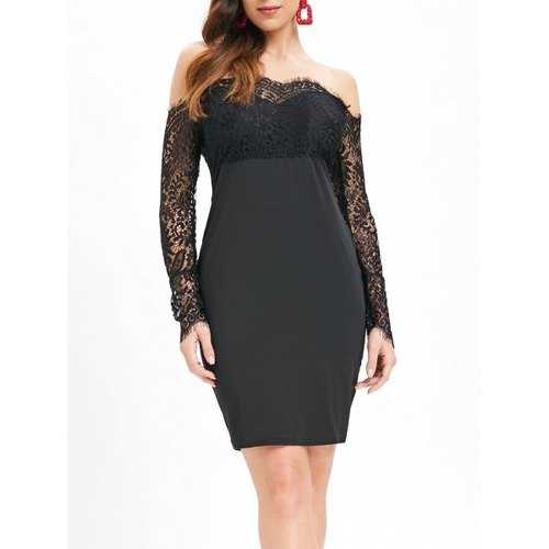 Slash Neck Lace Panel Bodycon Dress - Black Xl - Winter Haven Co