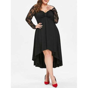 Plus Size Sheer Lace Sleeve Knot Neck High Low Hem Dress - Black 5x