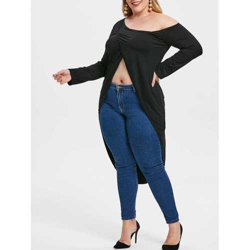 Plus Size Long Sleeve Slit Asymmetrical Top - Black L - Winter Haven Co