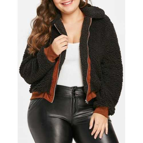 Plus Size Contrast Trim Faux Fur Coat - Black 2x - Winter Haven Co