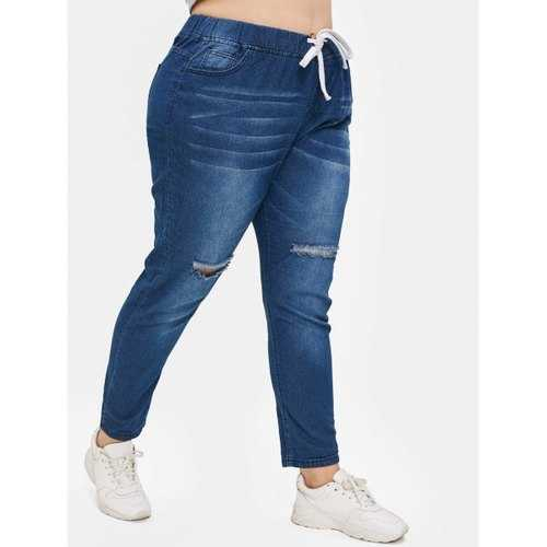 Plus Size Drawstring Waisted Ripped Jeans - Blue 4x - Winter Haven Co