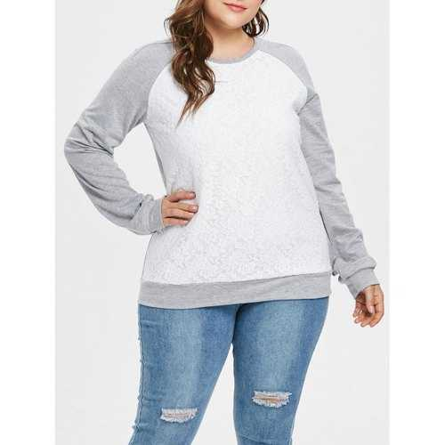 Plus Size Lace Panel Pullover Contras Sweatshirt - Gray Cloud 1x - Winter Haven Co