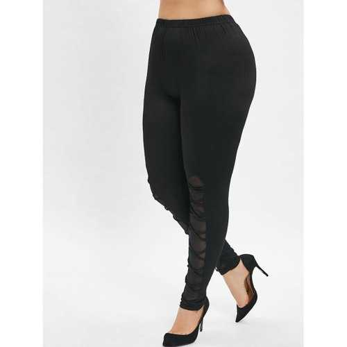Plus Size Criss Cross Mesh Insert Leggings - Black L - Winter Haven Co