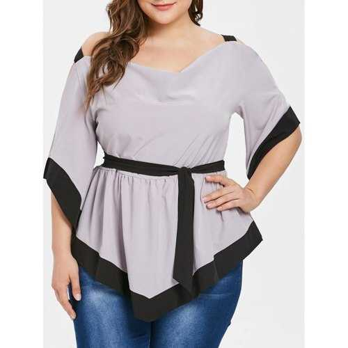 Plus Size Two Tone Cold Shoulder Belted Blouse - Gray Goose 5x
