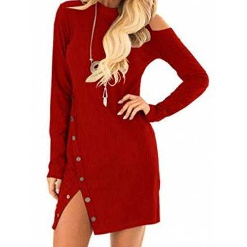 Knit Cut Out Long Sleeve Bodycon Dress - Red M - Winter Haven Co