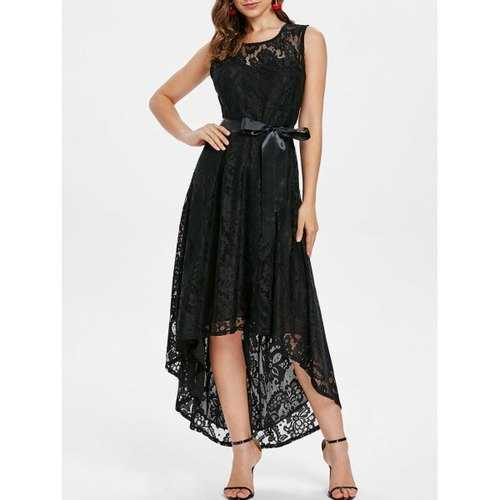 High Low Lace Maxi Party Dress - Black L - Winter Haven Co