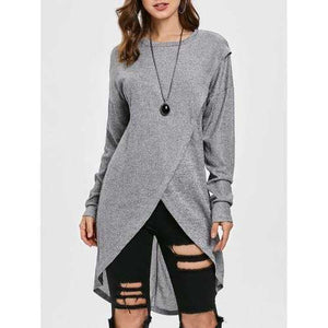 Drop Shoulder Overlap Knit Sweater - Gray L - Winter Haven Co