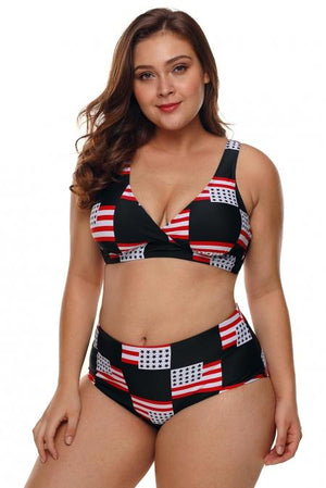 American Flag Checked 2 Piece Plus Size Swimsuit - Winter Haven Co