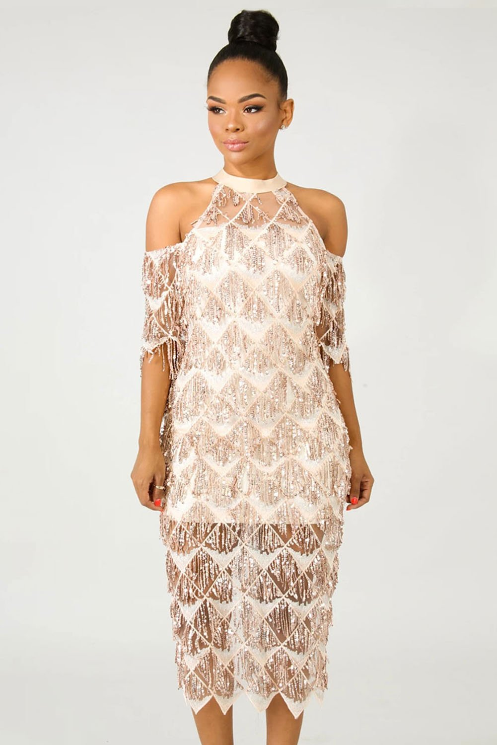 Apricot Fringe Sequin Midi Cocktail Party Dress - Winter Haven Co