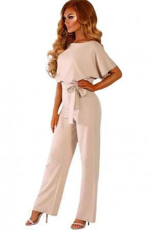 Apricot Oh So Glam Belted Wide Leg Jumpsuit - Winter Haven Co