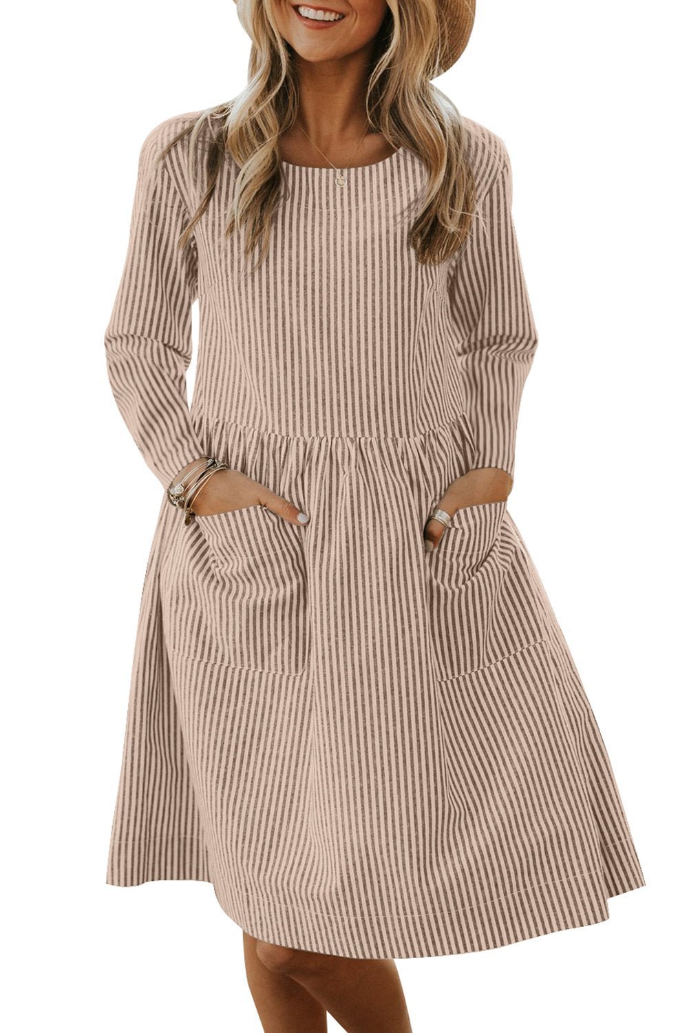 Apricot Pinstriped Long Sleeve Casual Pocket Dress - Winter Haven Co