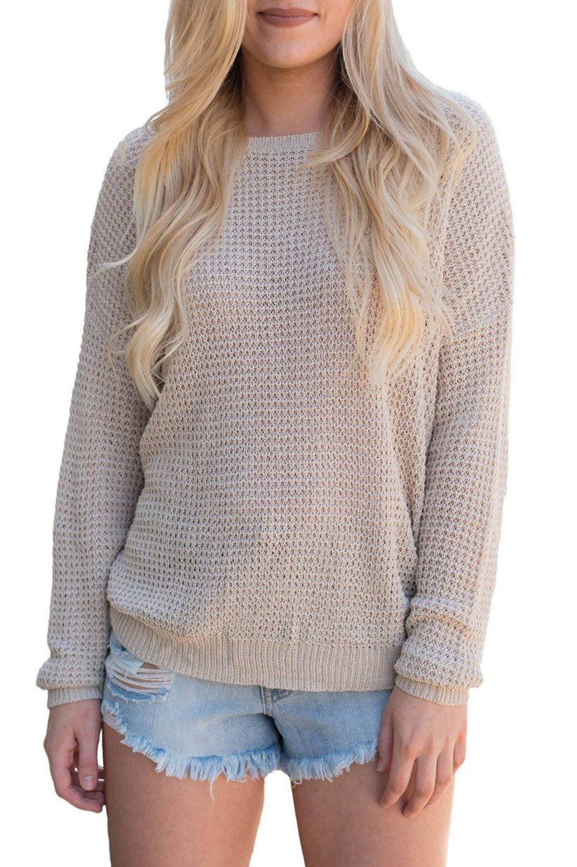 Aprioct Cross Back Hollow-out Long Sleeve Sweater - Winter Haven Co
