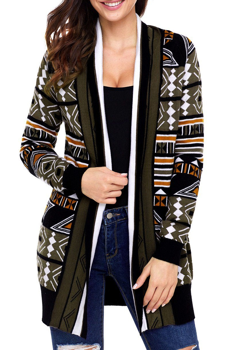 Army Green Aztec Print Open Cardigan - Winter Haven Co