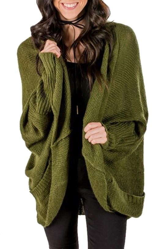 Army Green Dolman Sleeve Knit Cardigan with Pockets - Winter Haven Co