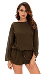Army Green Oversize Bodice Long Sleeve Hollow-out Back Short Romper - Winter Haven Co