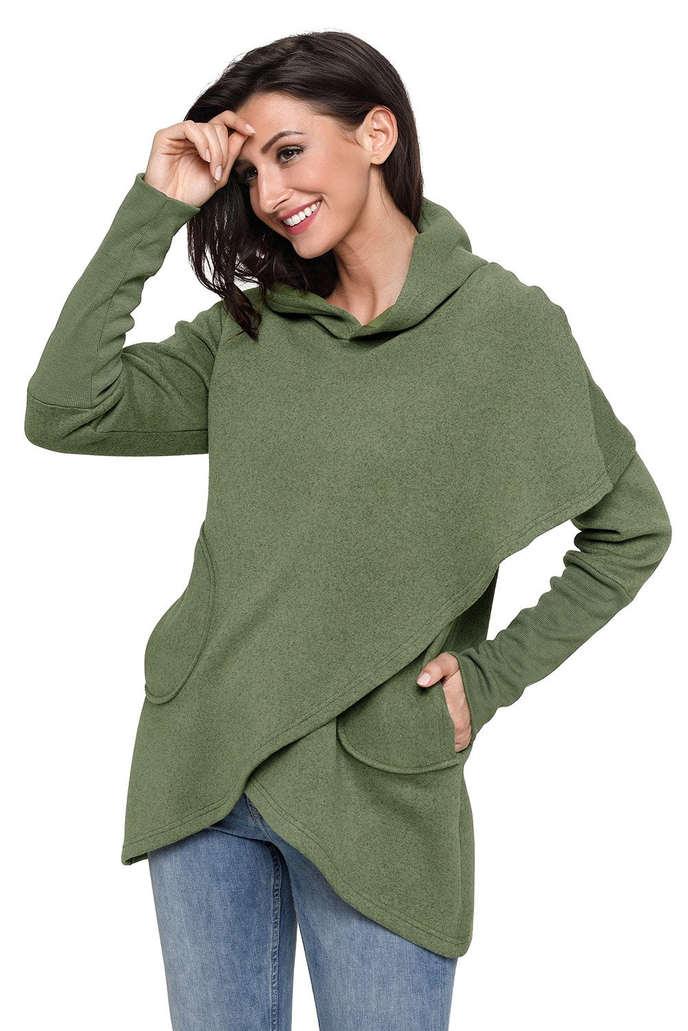 Army Green Tulip Wrap Cape Style Long Sleeve Hoodie - Winter Haven Co