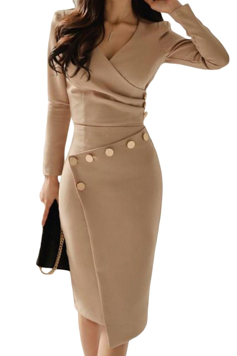 Asymmetric Button Detail Khaki Ruched Midi Dress - Winter Haven Co