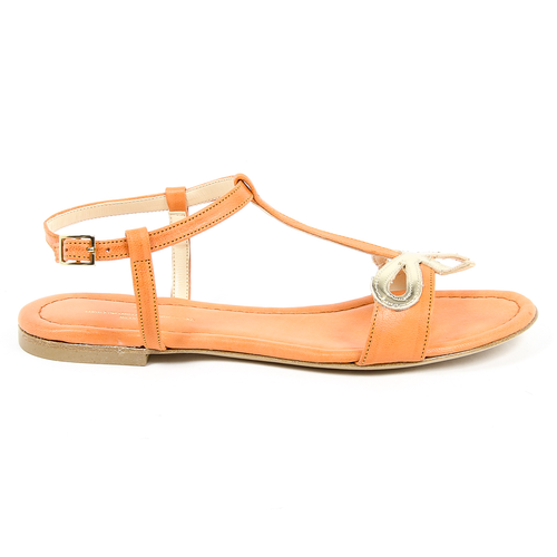V 1969 Italia Womens Flat Sandal Orange LISA - Winter Haven Co