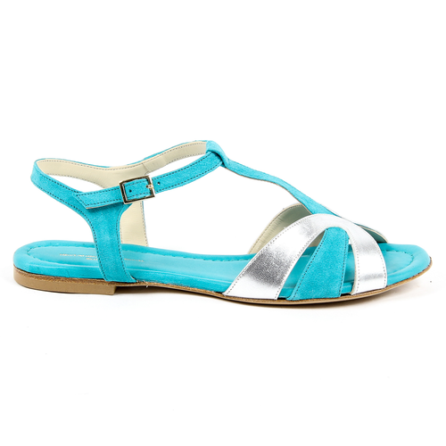 V 1969 Italia Womens Flat Sandal Light Blue GRAZIA - Winter Haven Co