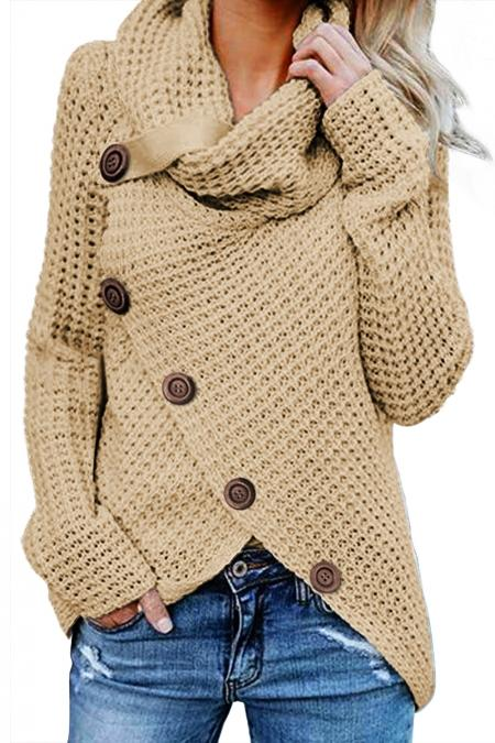 Beige Buttoned Wrap Turtleneck Sweater - Winter Haven Co