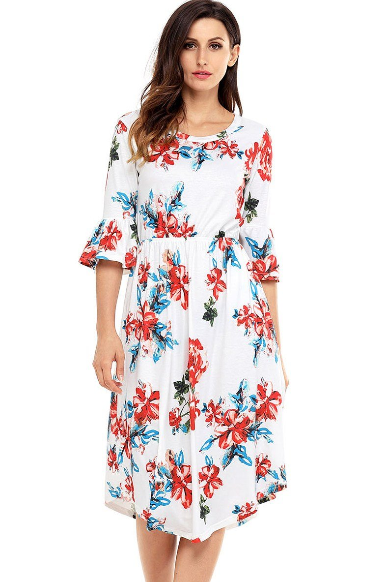 Bell Sleeve White Floral Midi Dress - Winter Haven Co