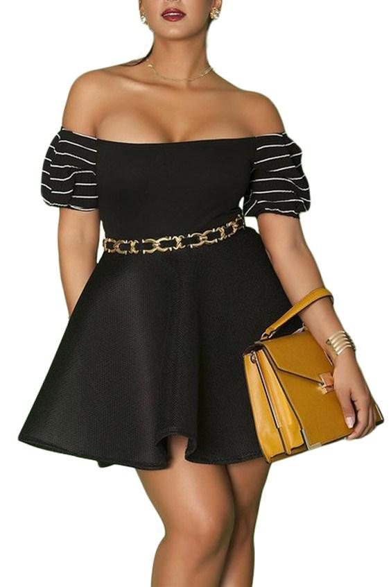 Black Plus Size Pleated Off-the-shoulder Skater Dresses - Winter Haven Co